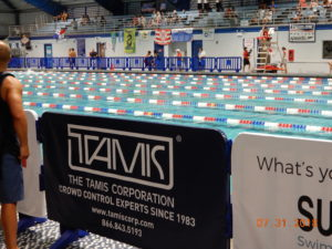 Barriers on LineEx at swim meet